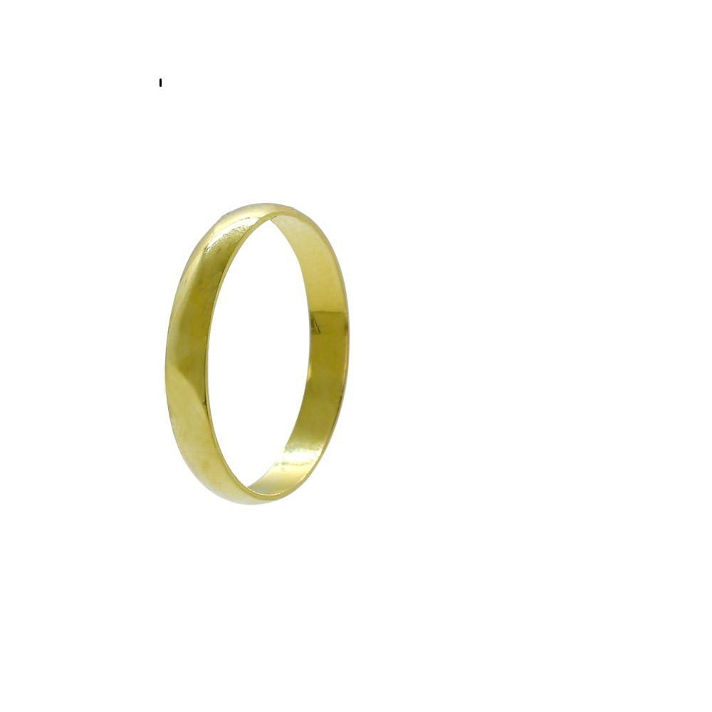 Aliança ouro 18k abaulada lisa 3,0mm