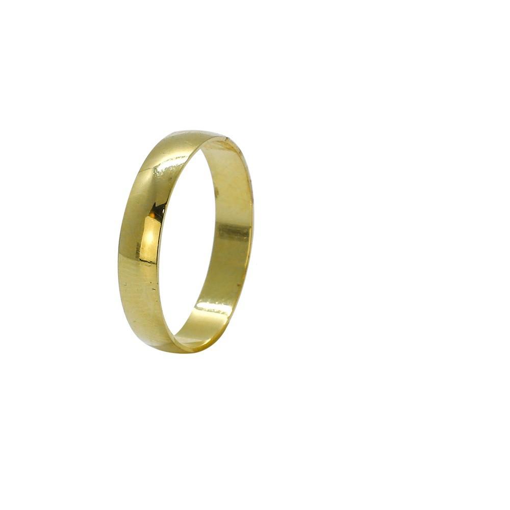 Aliança ouro 18k abaulada lisa 4,0mm