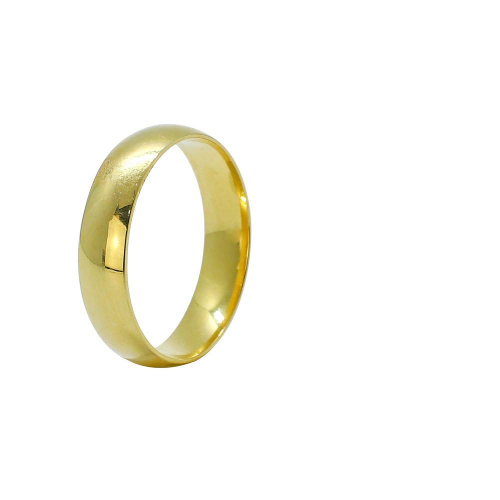 Aliança ouro 18k abaulada lisa 5,0mm anatômica
