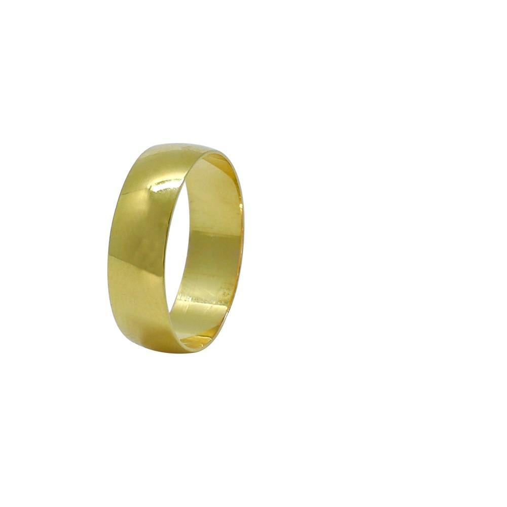 Aliança ouro 18k abaulada lisa 6,0mm