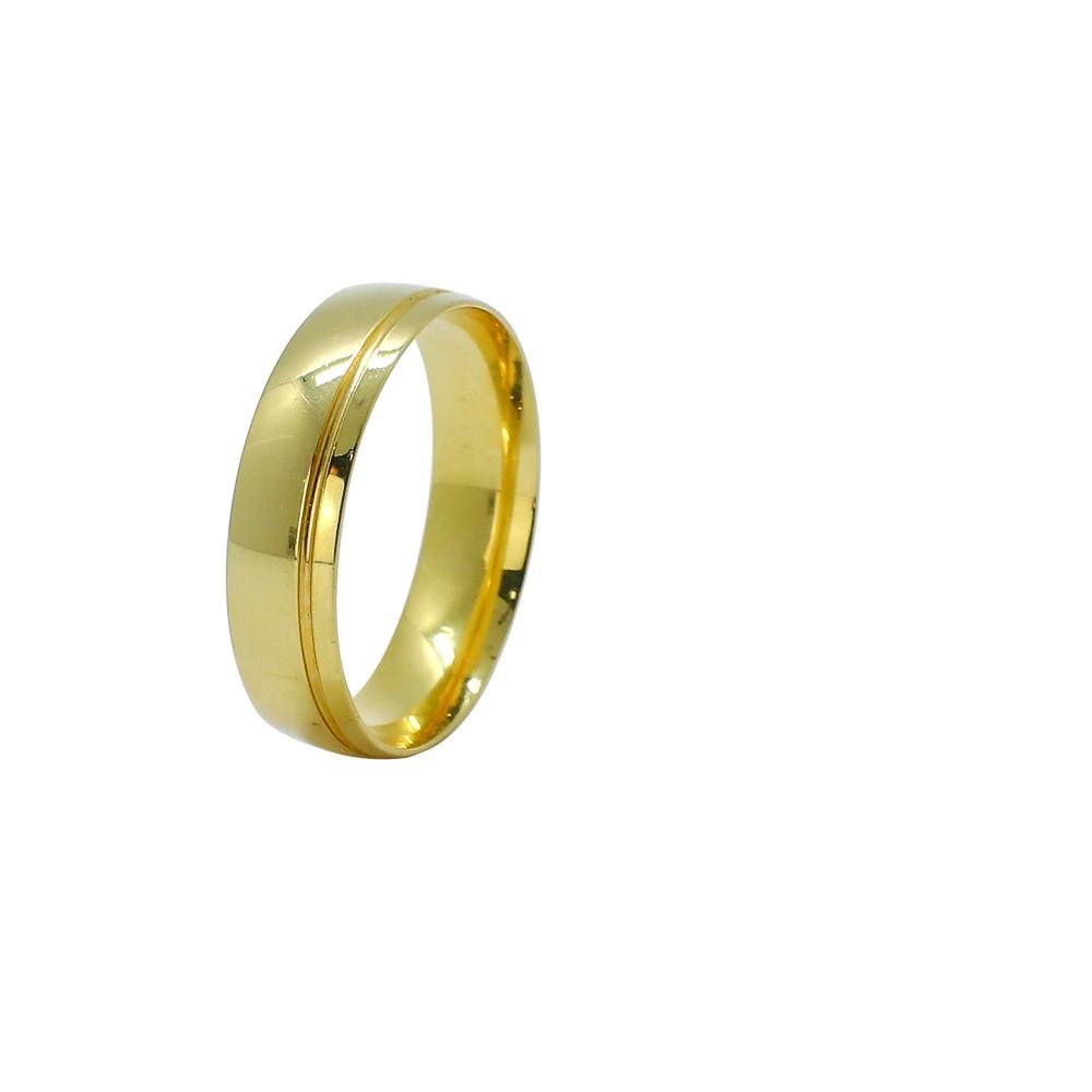 Aliança ouro 18k abaulada lisa com friso 5,5mm anatômica