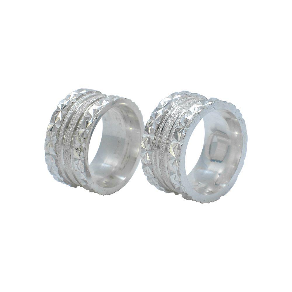 Aliança prata 925 reta diamantada 10mm anatômica