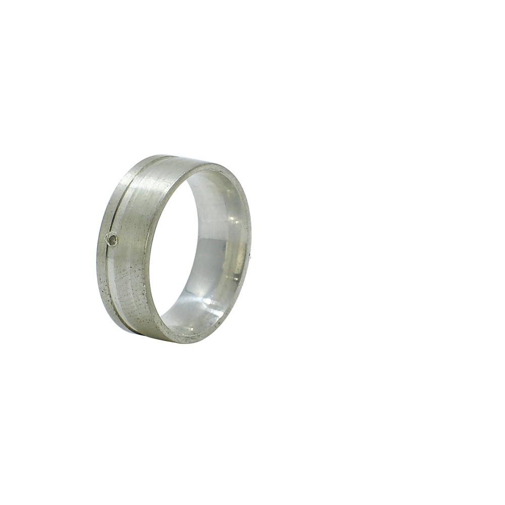 Aliança prata 925 reta fosca com friso liso 8mm anatômica