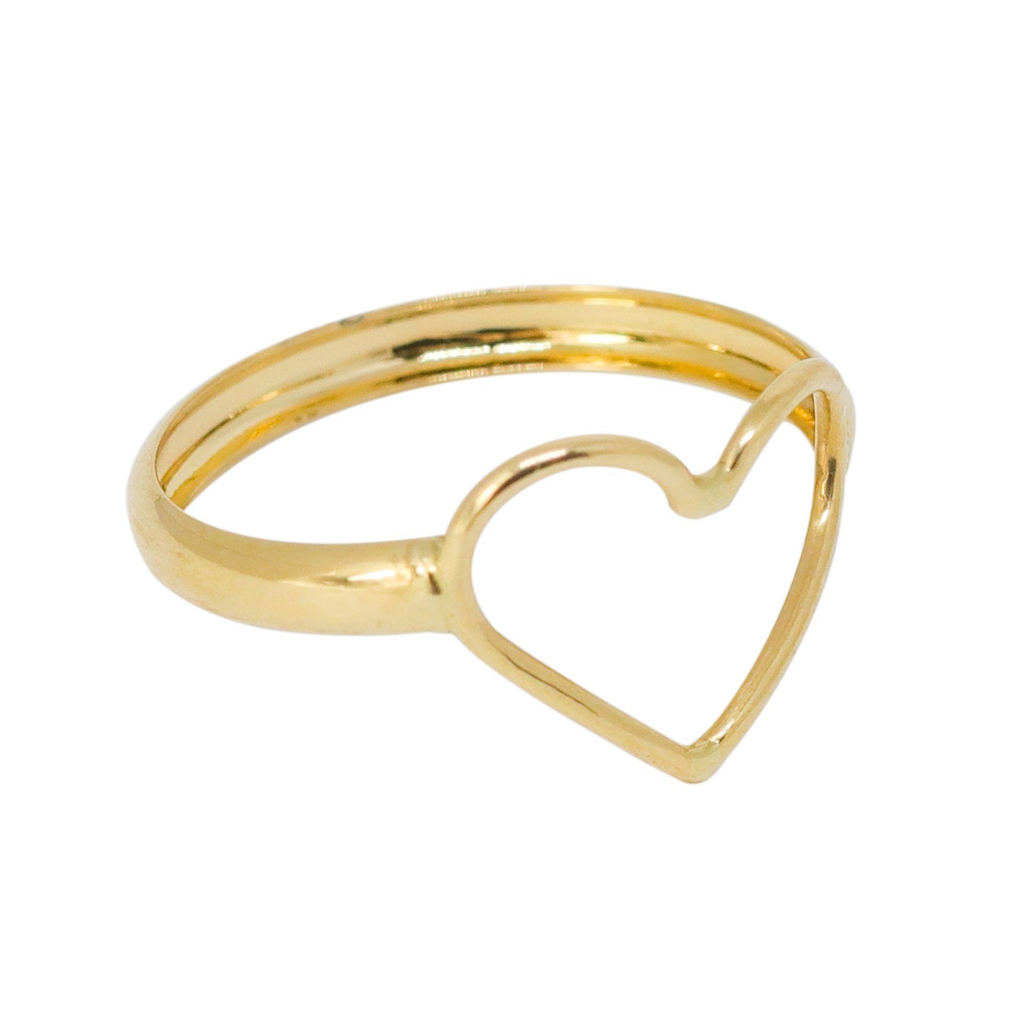 Anel ouro 18k coração vazado