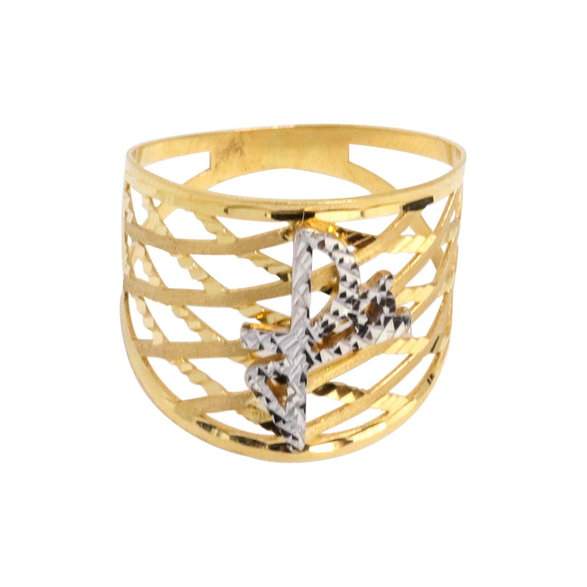 Anel ouro 18k fé diamantado