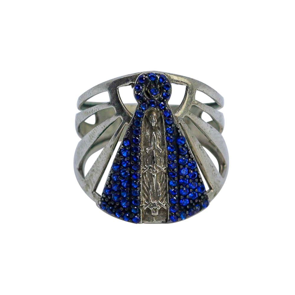 Anel prata 925 nossa senhora aparecida com zircônias