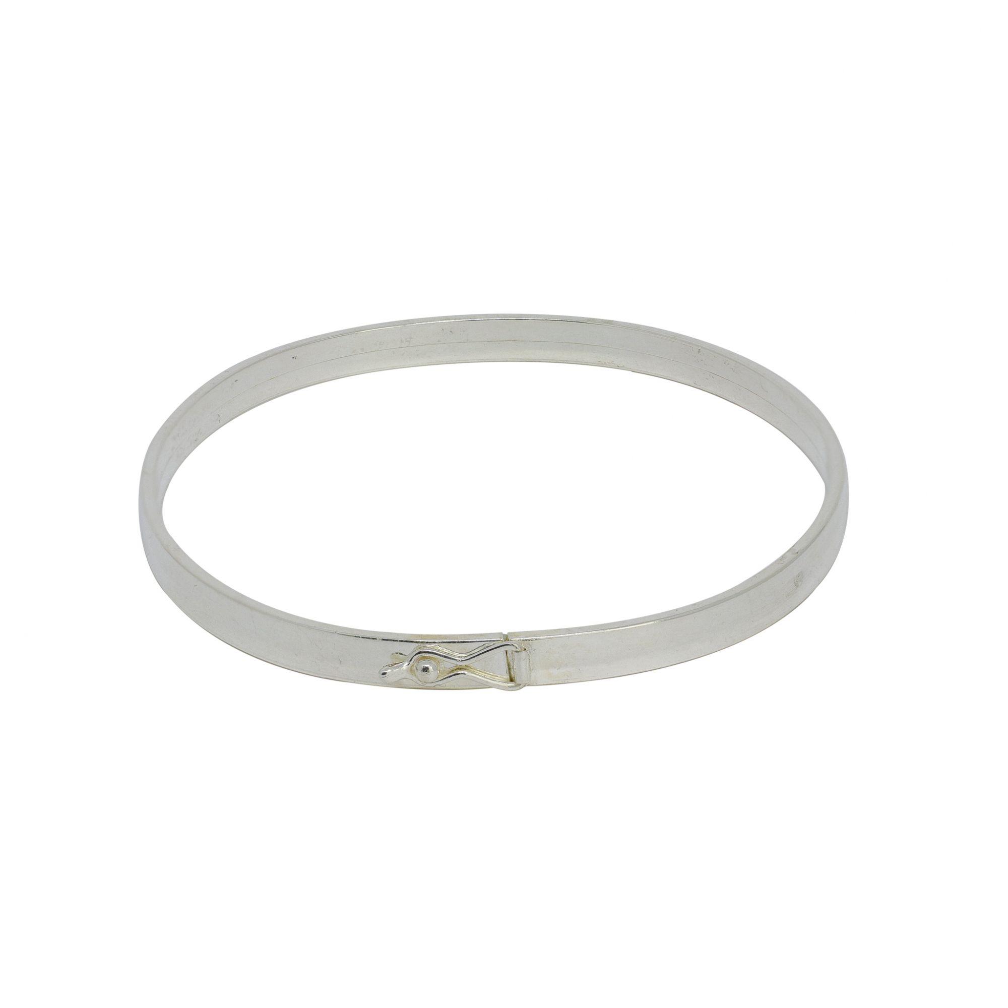 Bracelete prata 925 oco fio chato 4mm