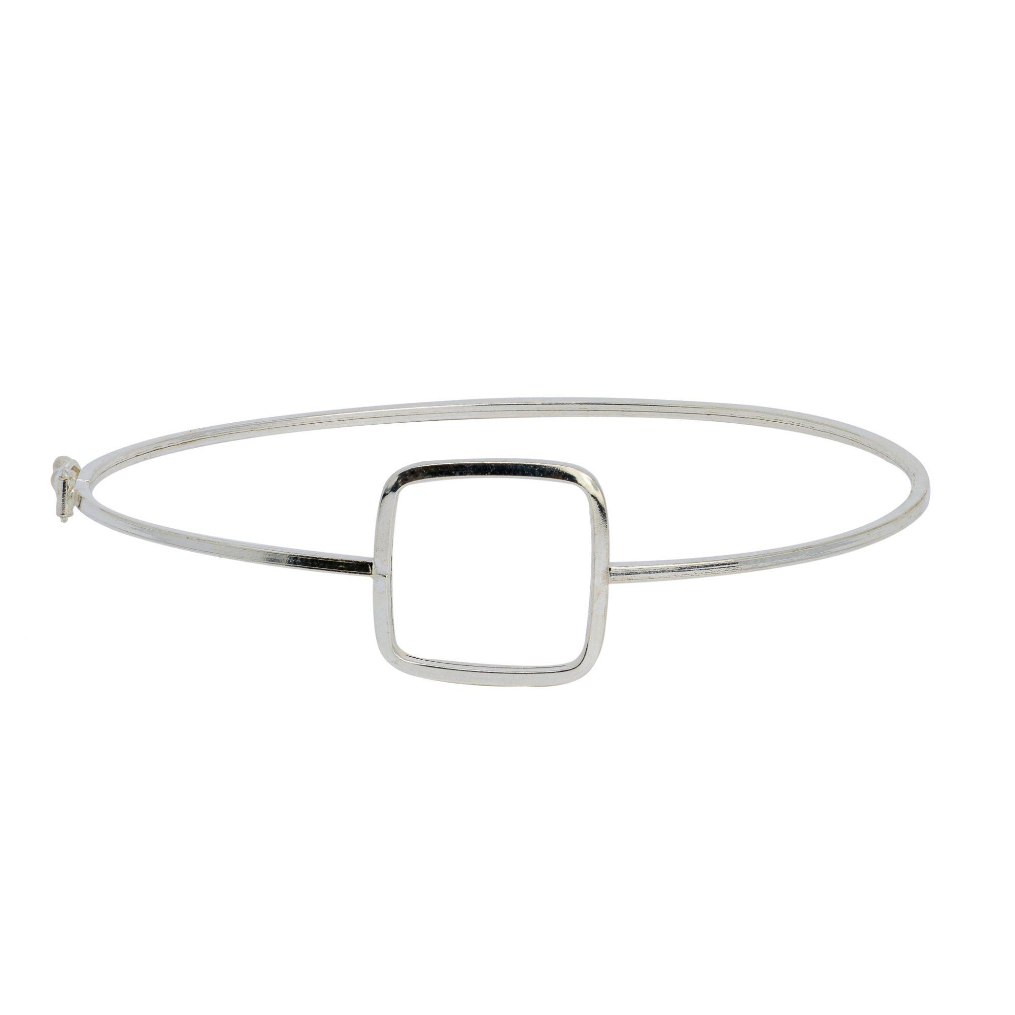 Bracelete prata 925 oco quadrado