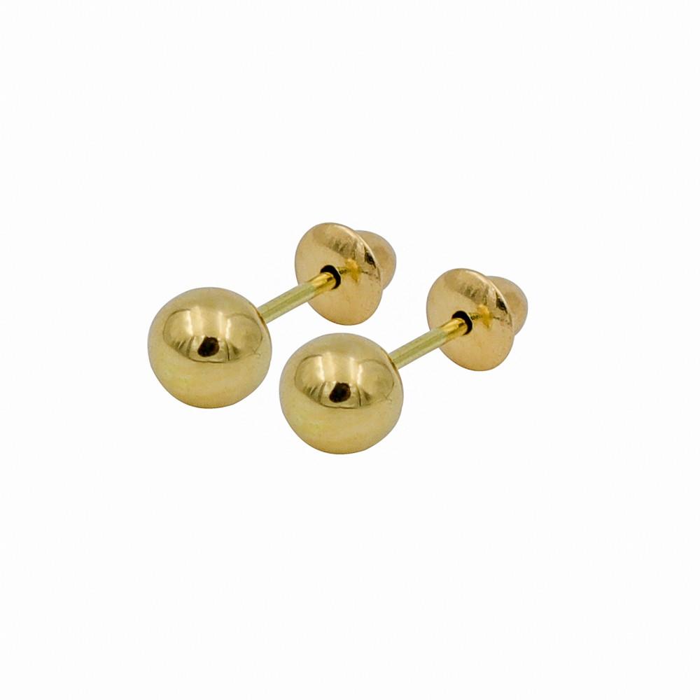 Brinco ouro 18k bola 4mm