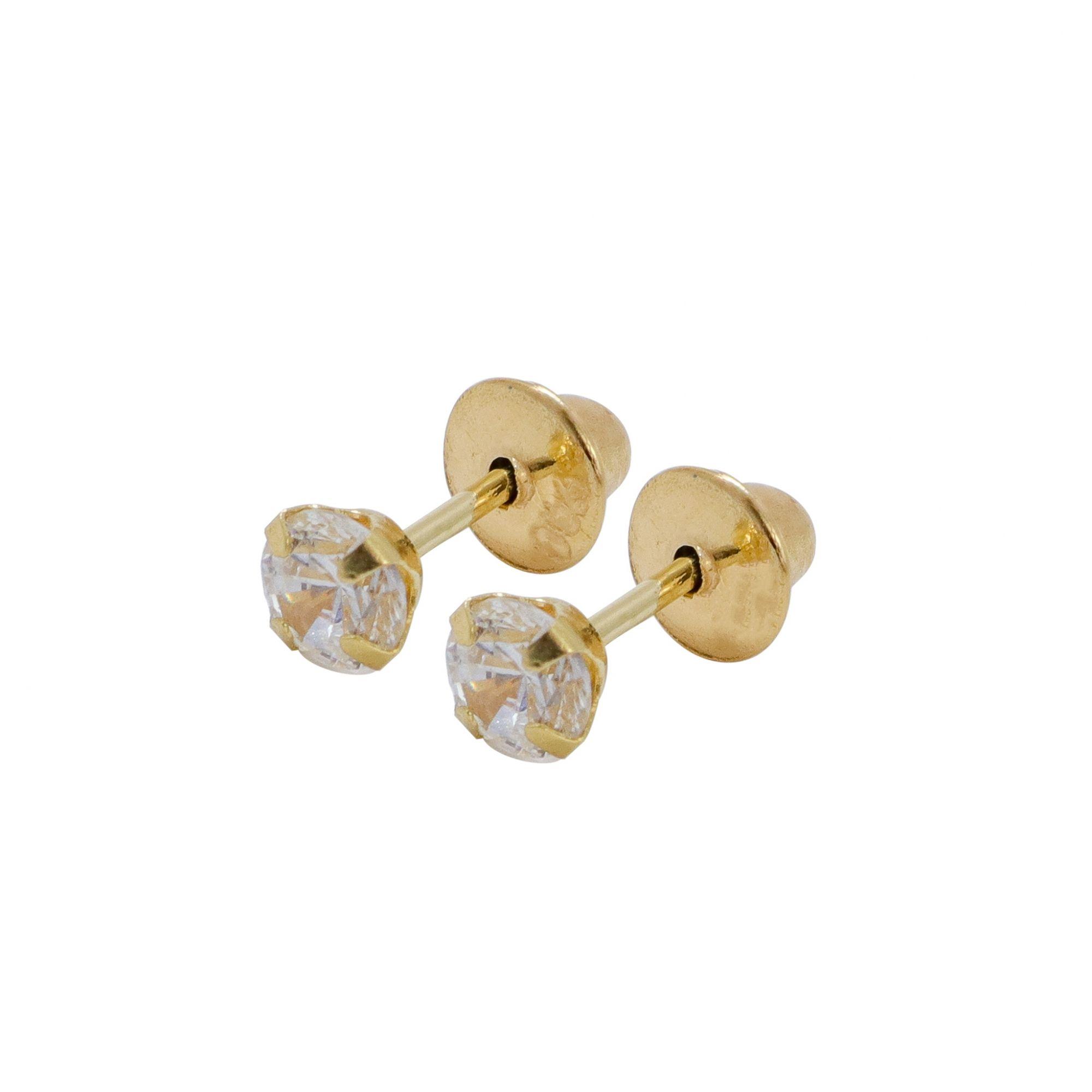 Brinco ouro 18k cálice com zircônia 3mm