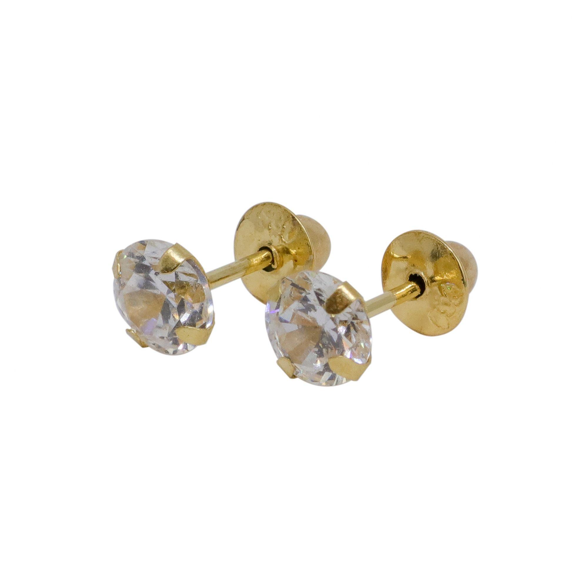 Brinco ouro 18k cálice com zircônia 4mm