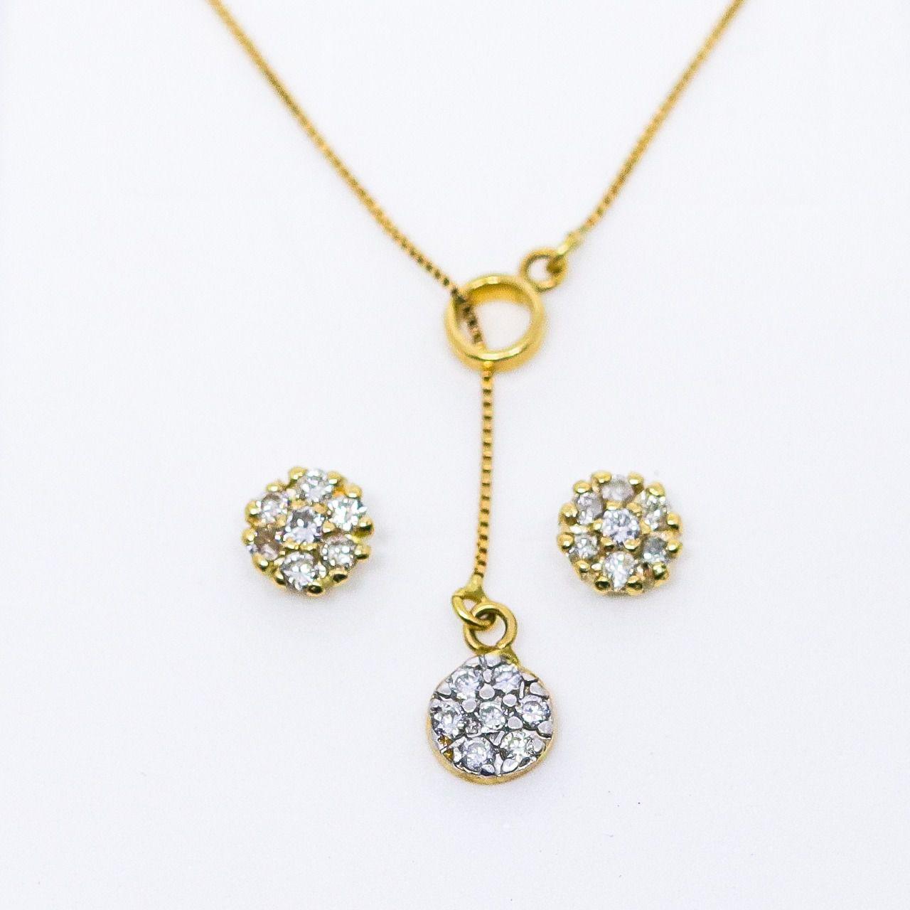 Brinco ouro 18k chuveiro com 14 diamantes 1,5pts