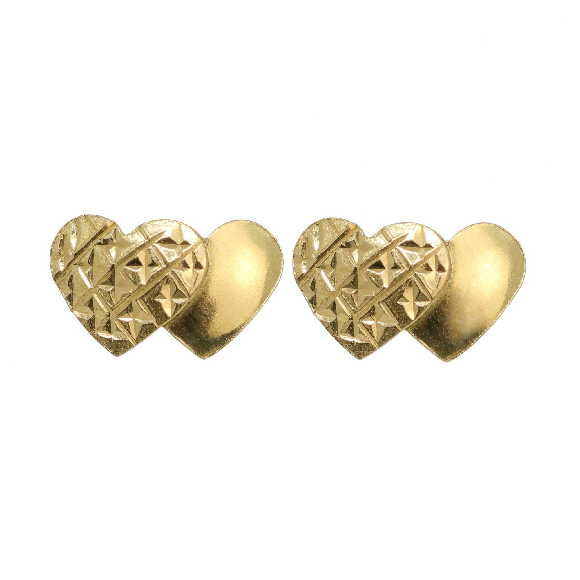 Brinco ouro 18k coração duplo trabalhado