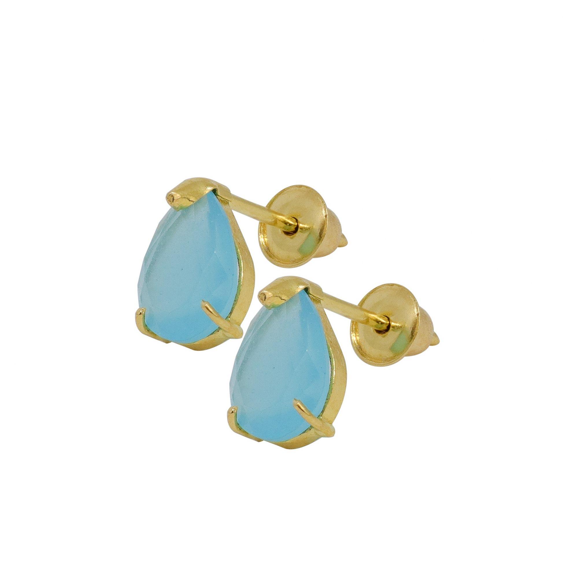 Brinco ouro 18k solitário gota com zircônia azul