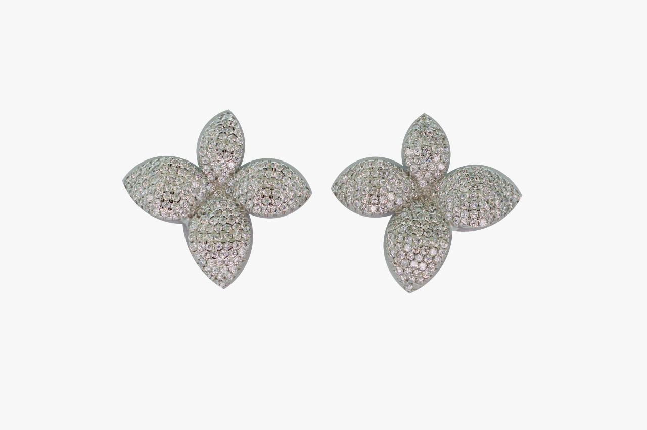 Brinco prata 925 flor com zirconia