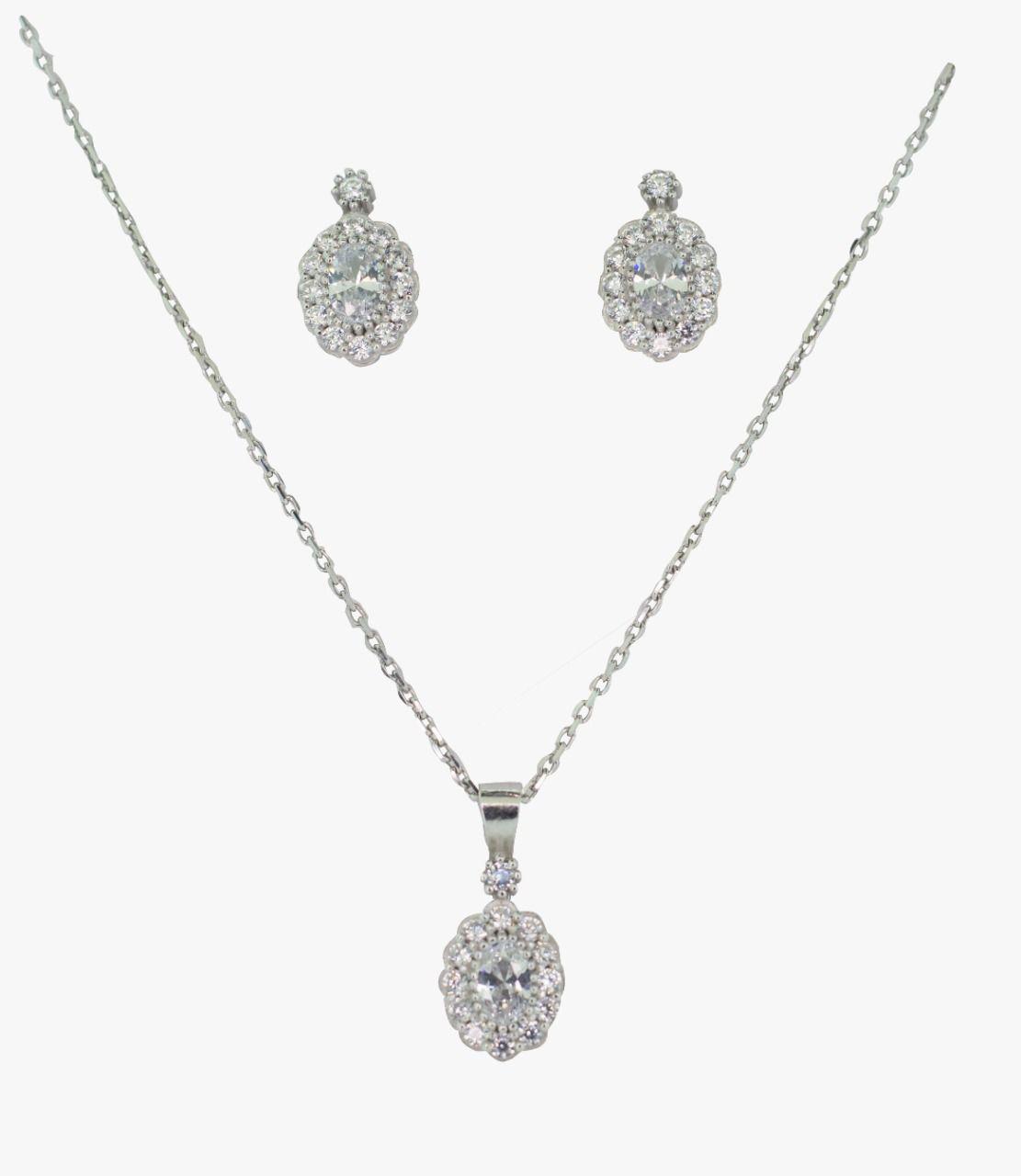 Conjunto prata 925 brincos e gargantilha com zirconias