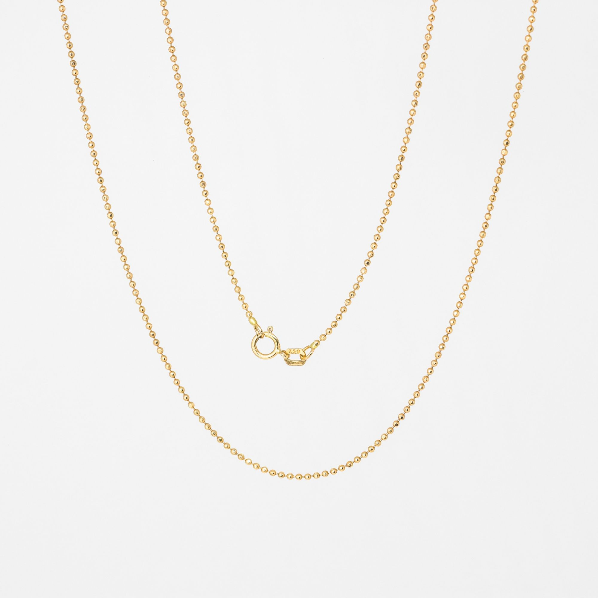 Corrente ouro 18k bolinhas 50 cm diamantada