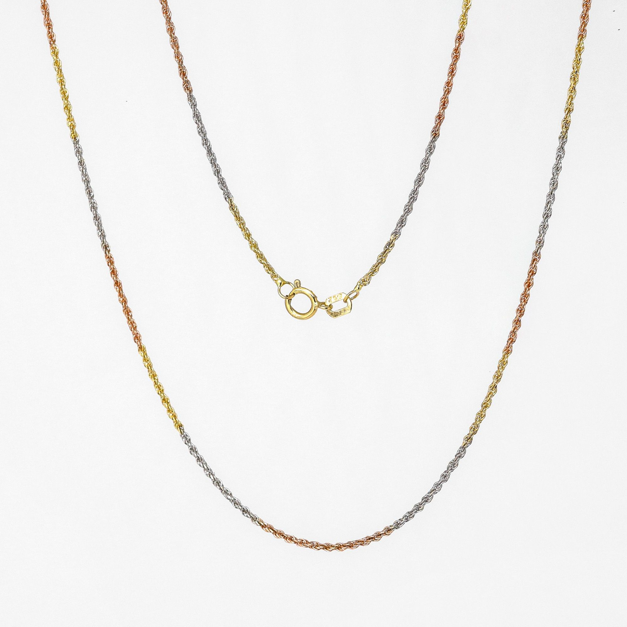Corrente ouro 18k cordão baiano três cores 45 cm