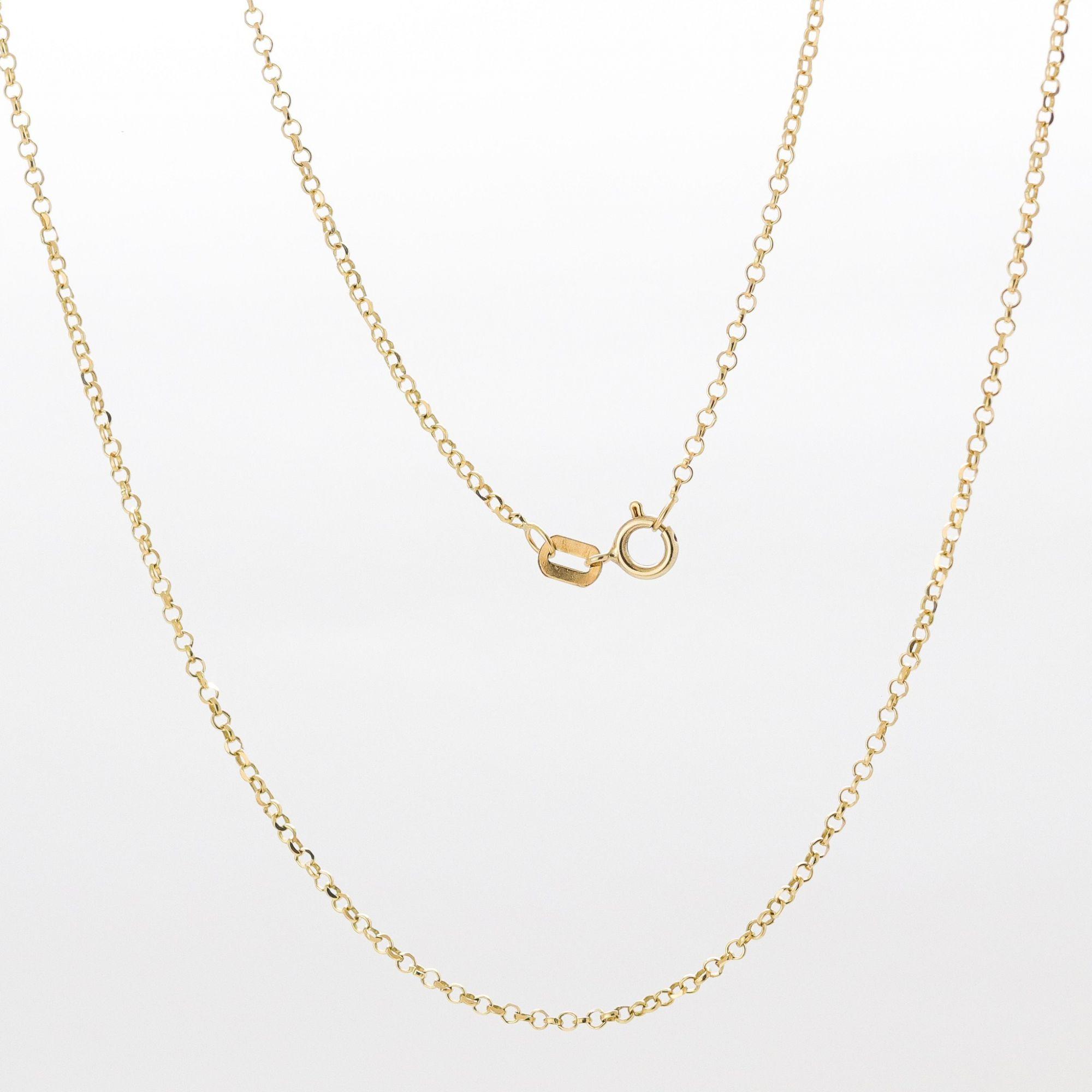 Corrente ouro 18k elo portugues 45 cm diamantada