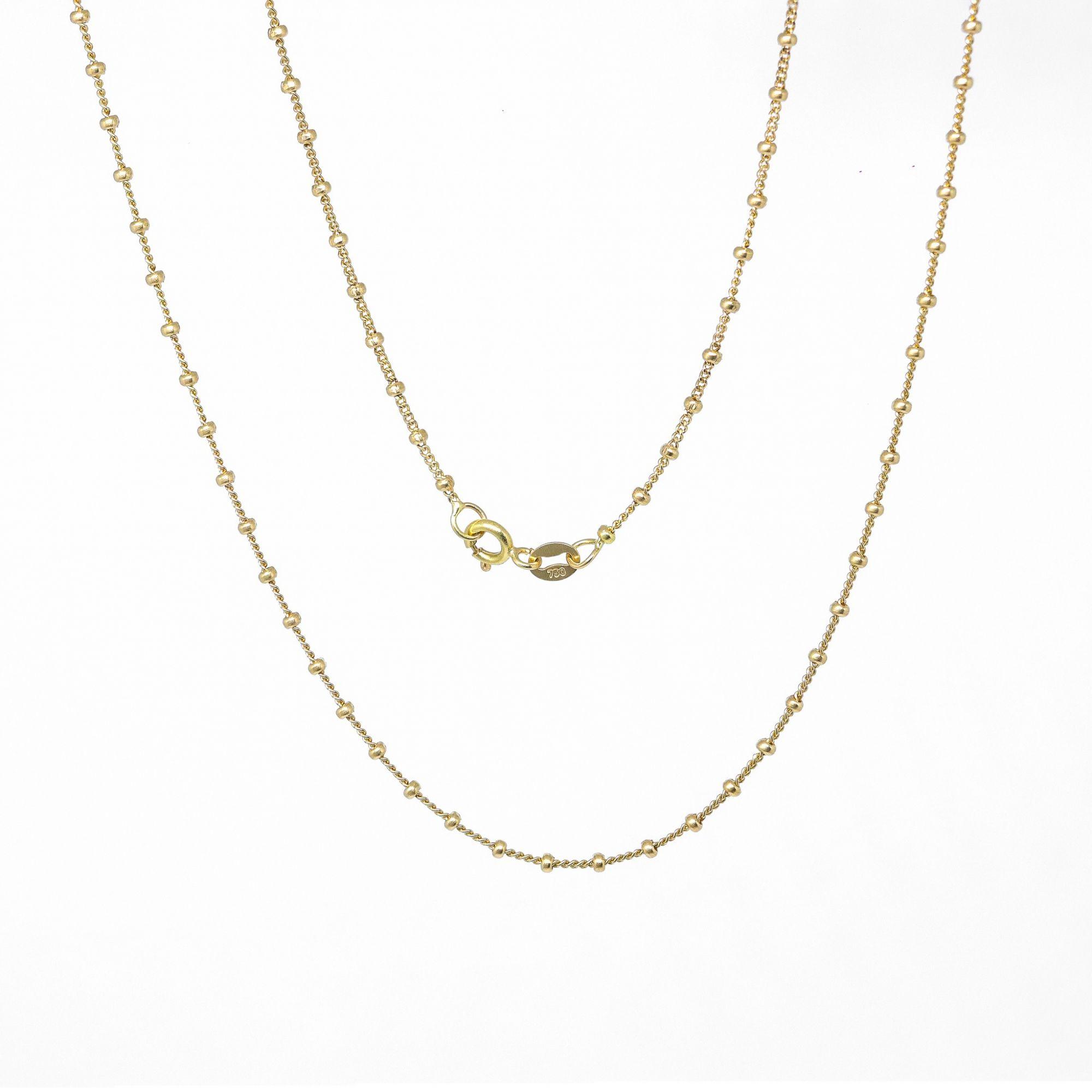 Corrente ouro 18k groumet com bolinhas 45 cm diamantada
