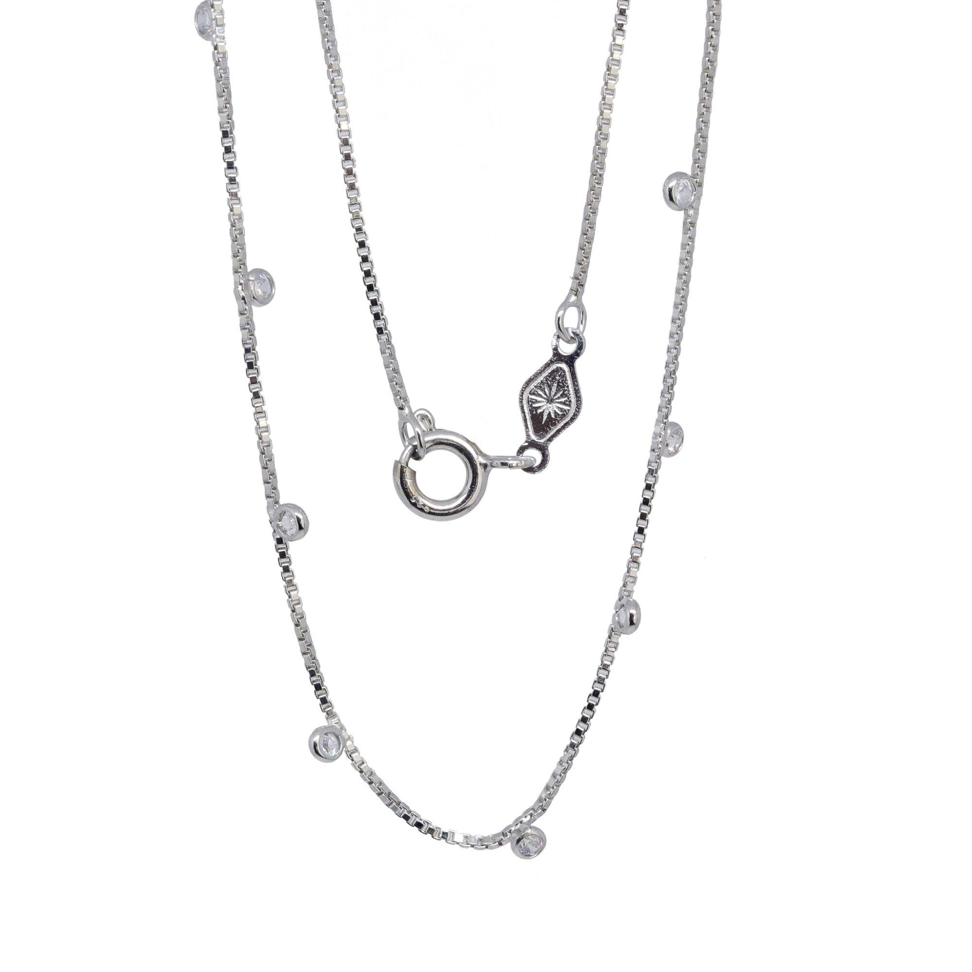 Corrente prata 925  folheado rodio dambete com zirconias