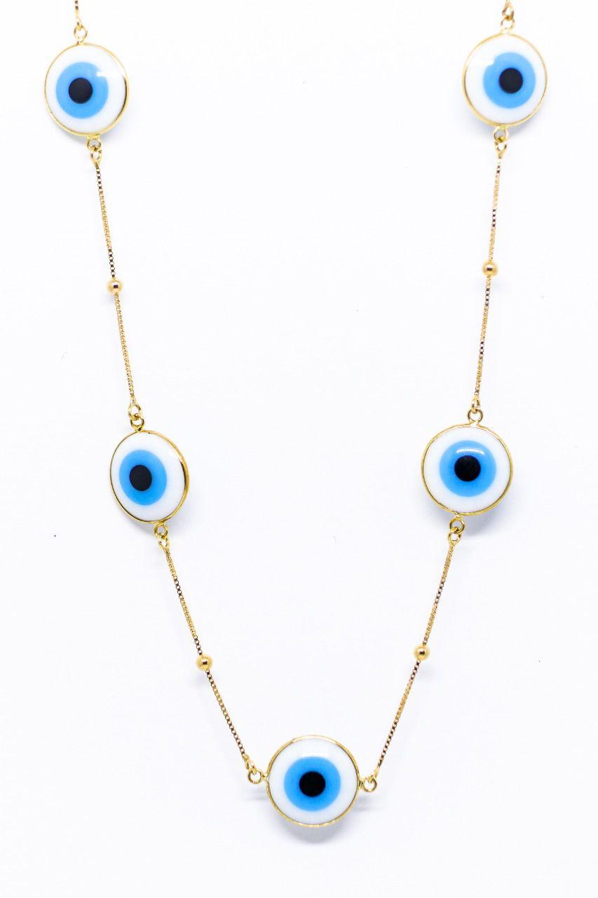 Gargantilha ouro 18k com olho grego.