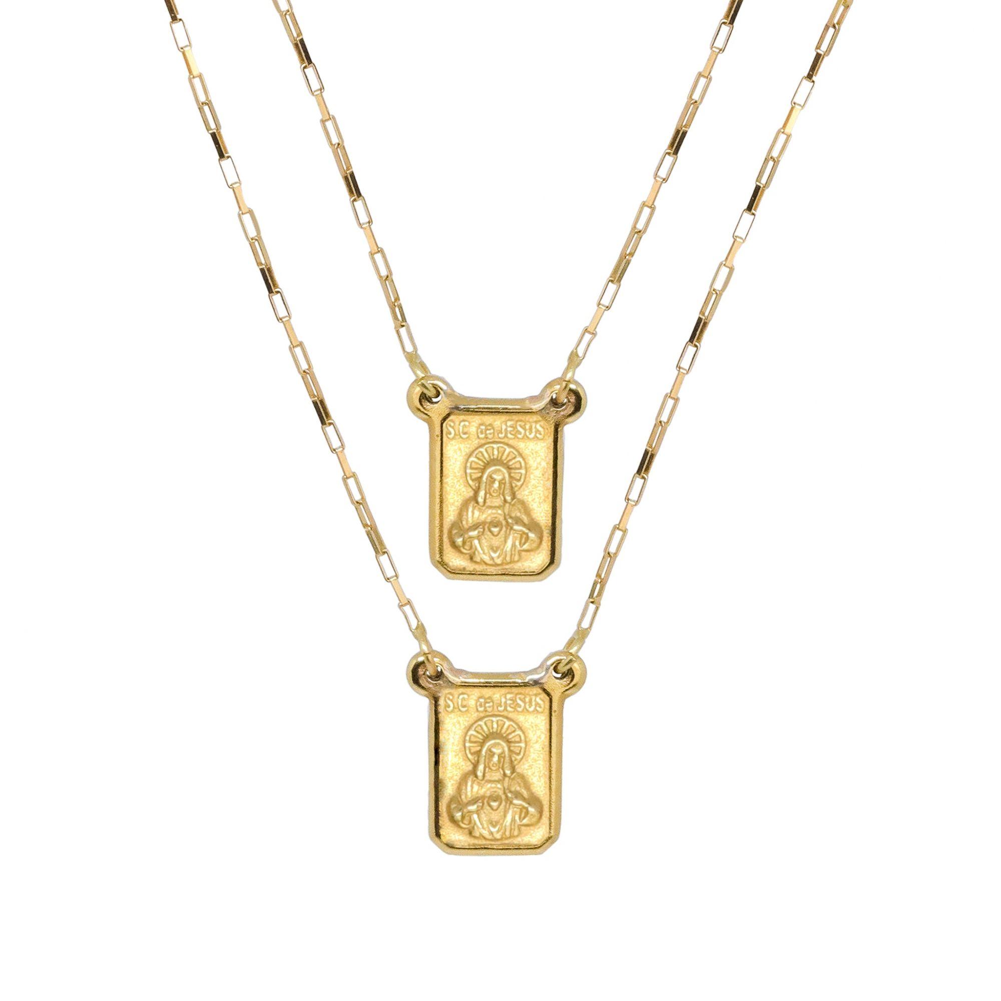 Gargantilha ouro 18k escapulário sagrado coração de jesus e nossa senhora do carmo