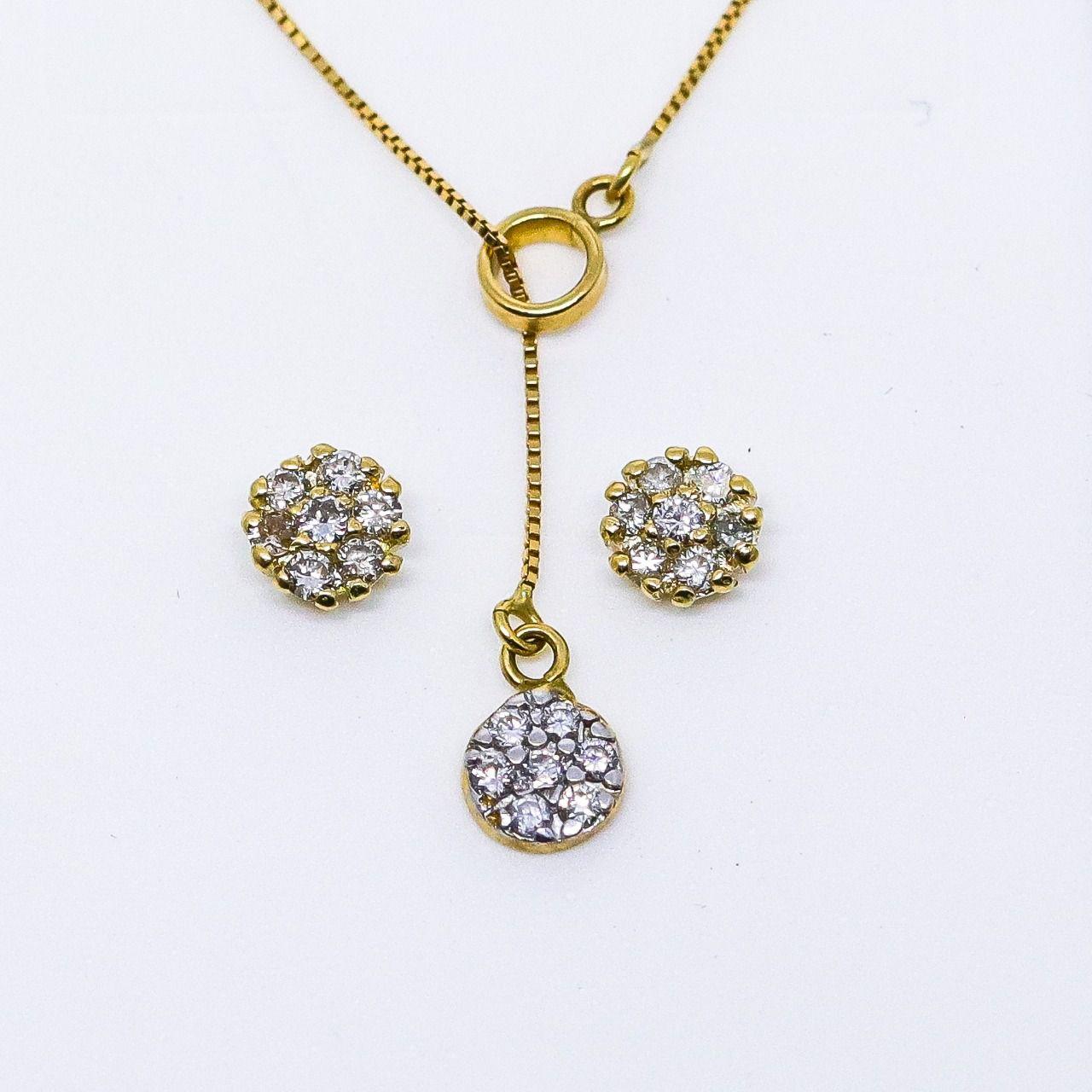Gargantilha ouro 18k gravata veneziana com 7 diamantes 1,5pts