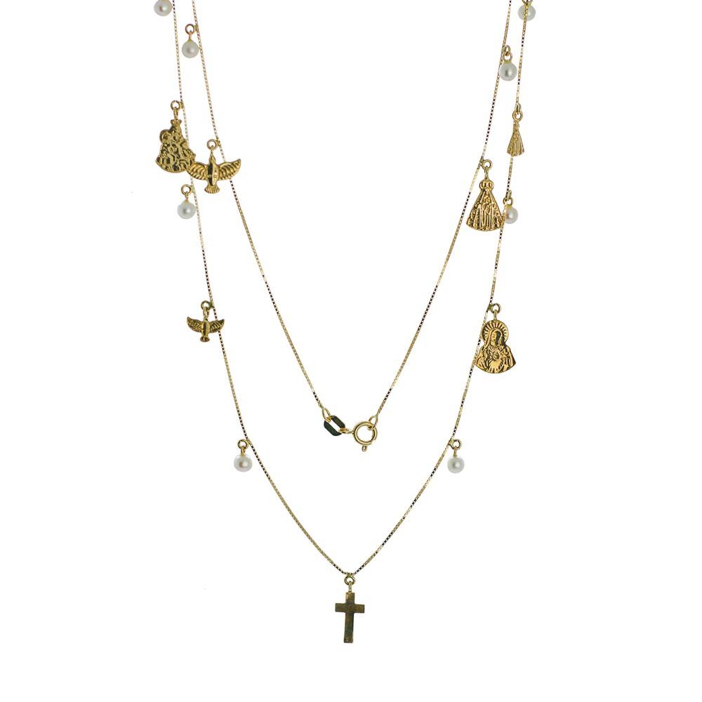 Gargantilha ouro 18k santos e pérolas.