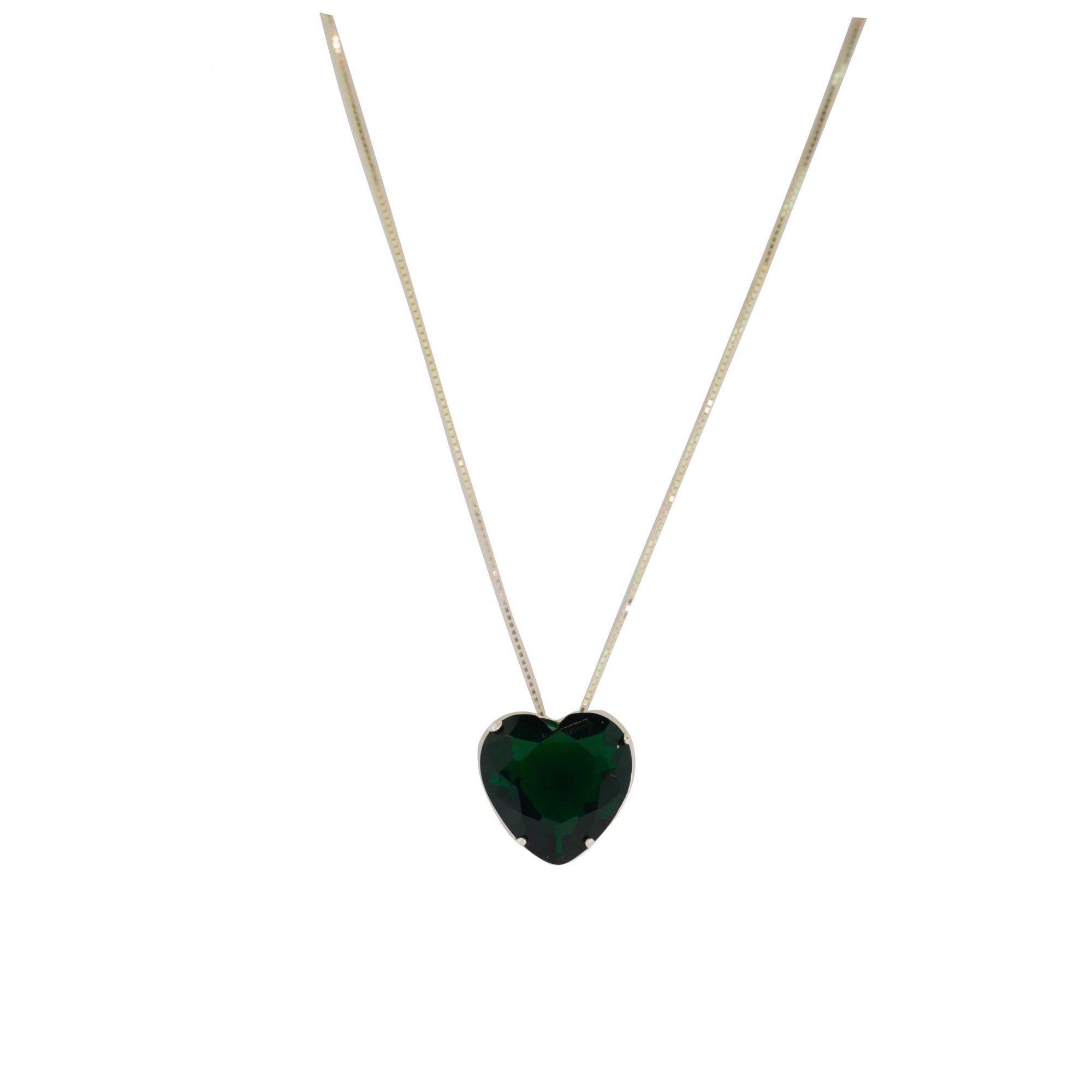 Gargantilha prata 925 com coração cristal