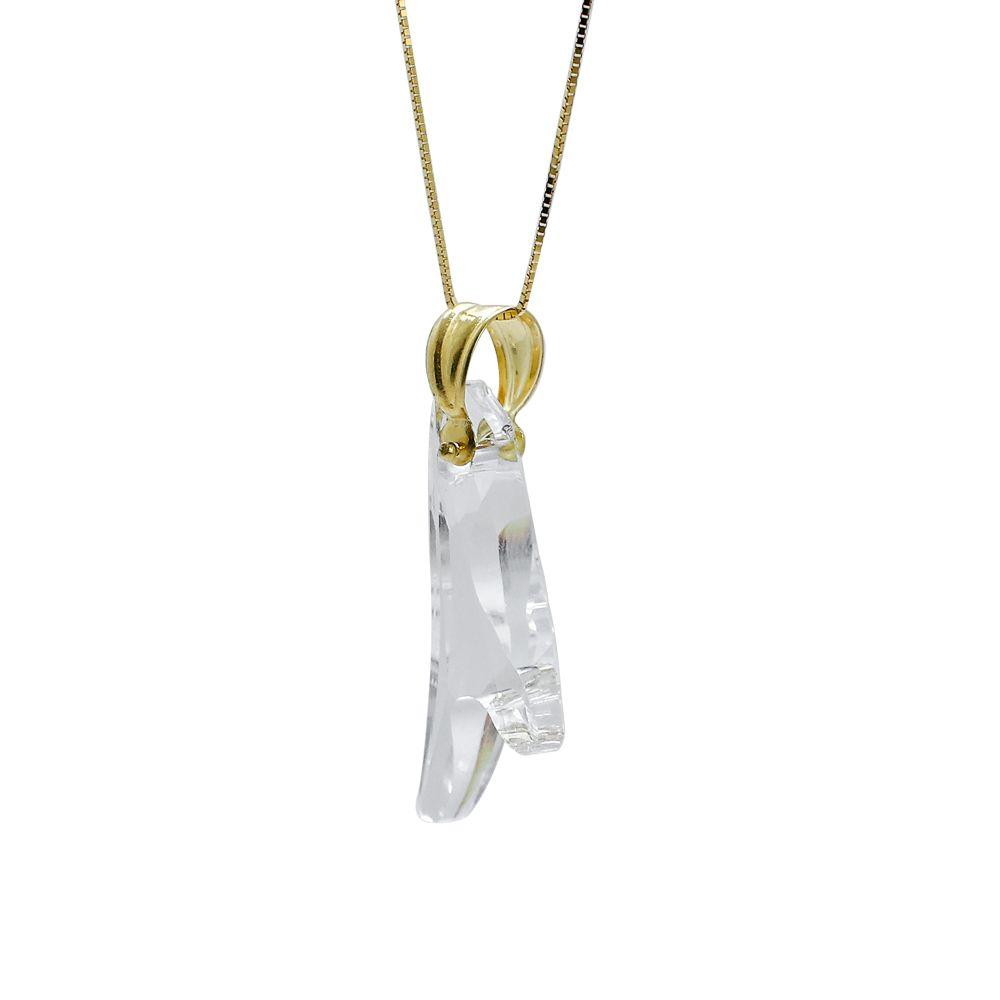 Pingente ouro 18k cristal bota