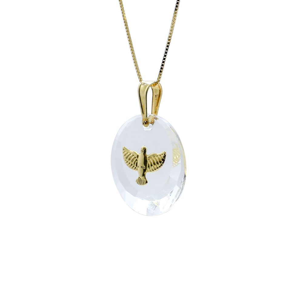 Pingente ouro 18k cristal com divino espírito santo