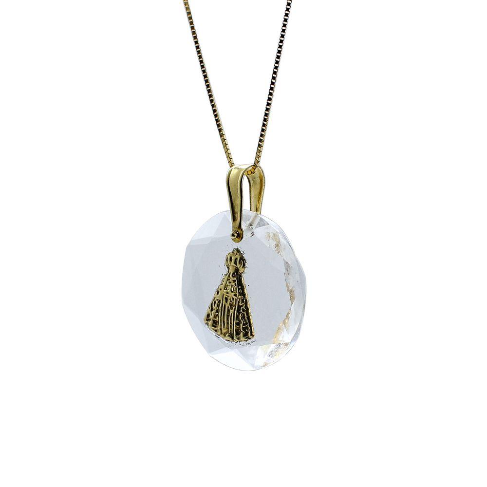 Pingente ouro 18k cristal com nossa senhora aparecida