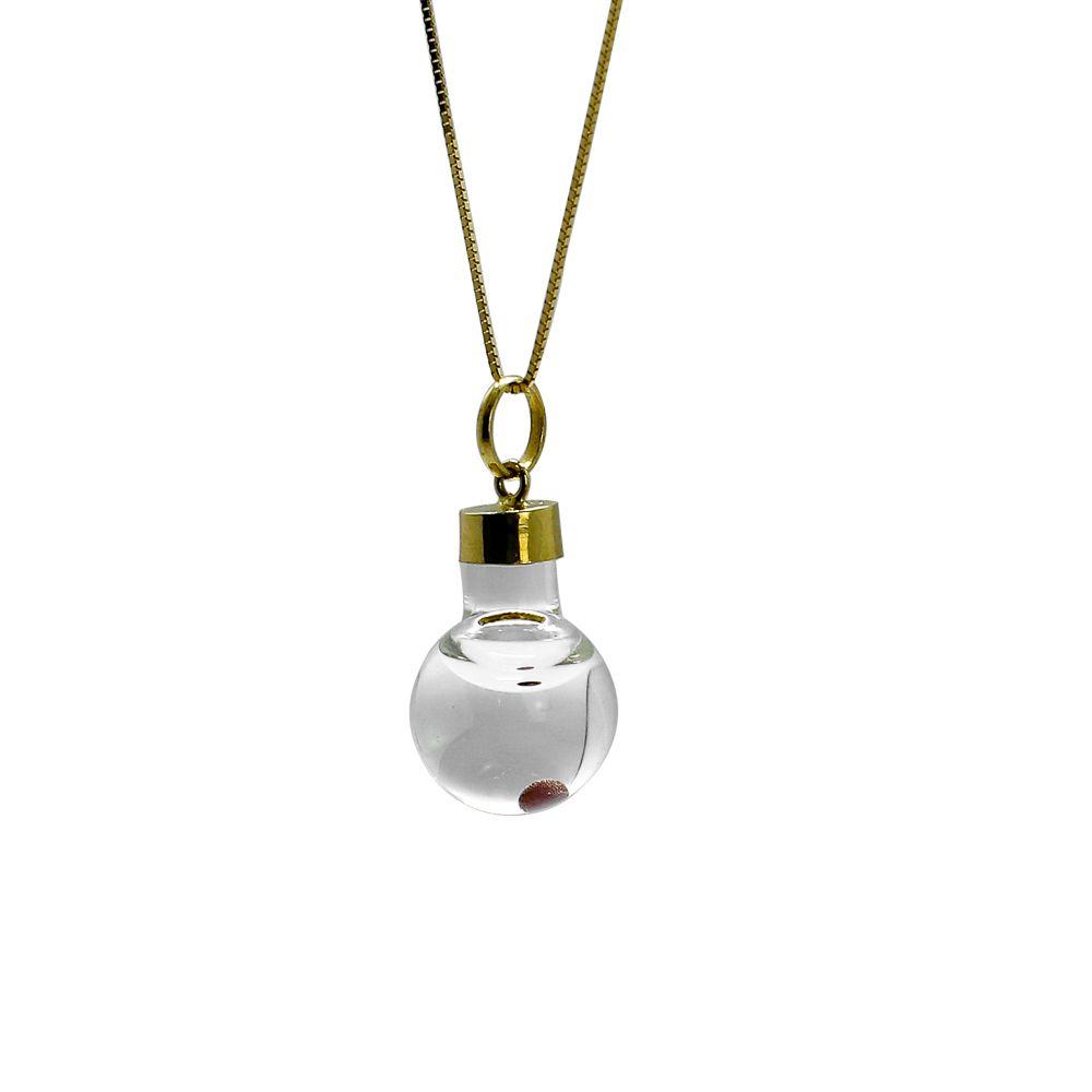 Pingente ouro 18k cristal com semente da fé
