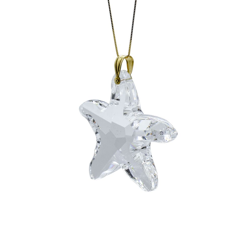Pingente ouro 18k cristal estrela do mar