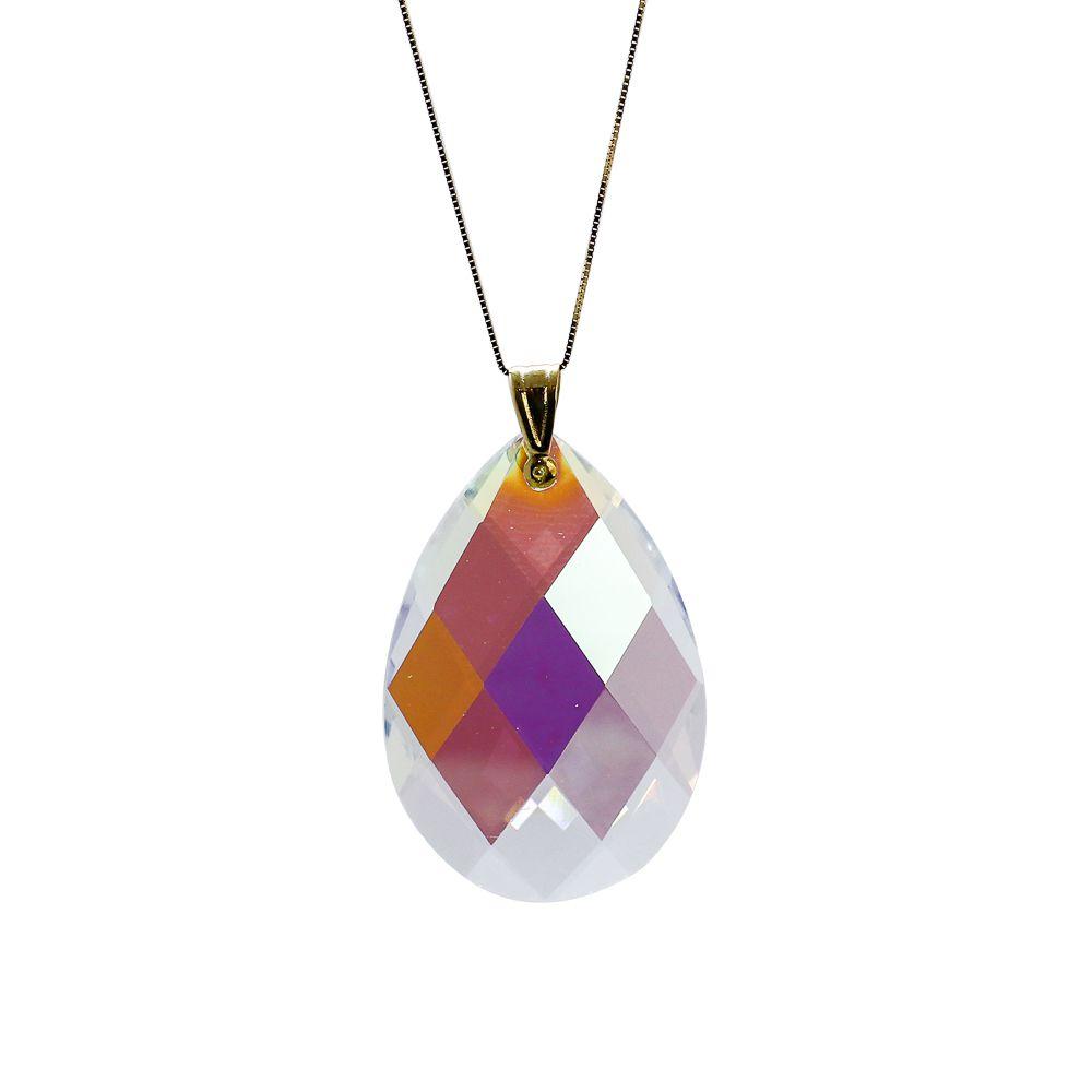 Pingente ouro 18k cristal gota aurora boreal