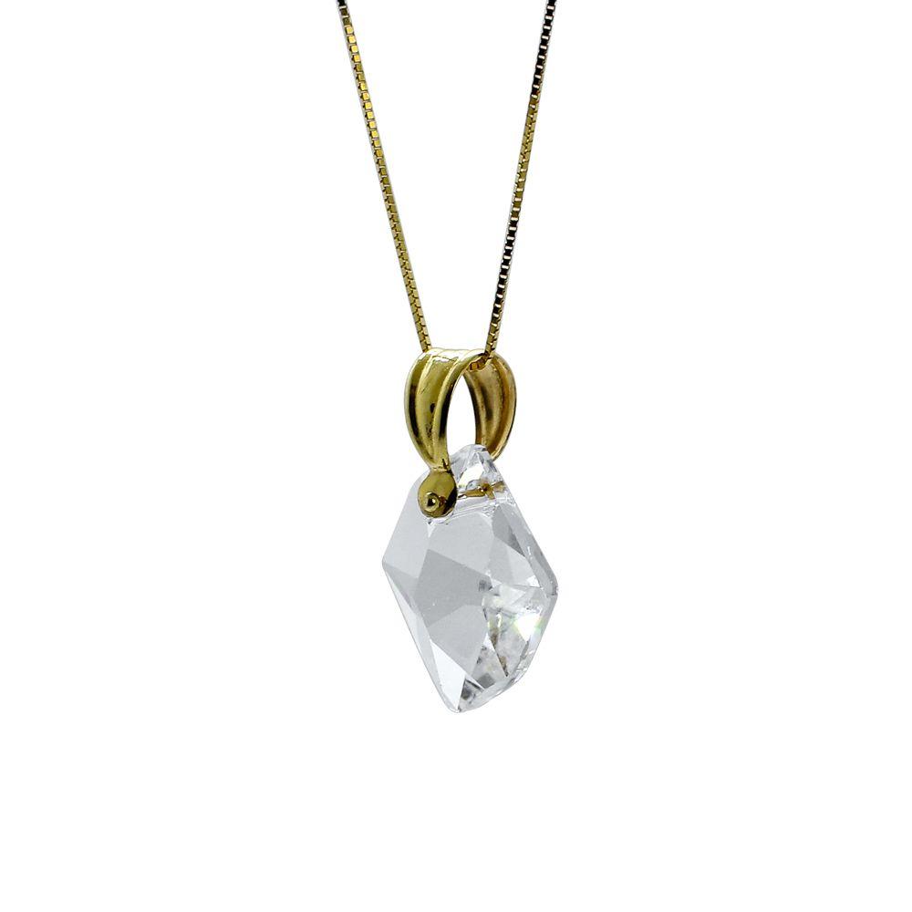 Pingente ouro 18k cristal losango
