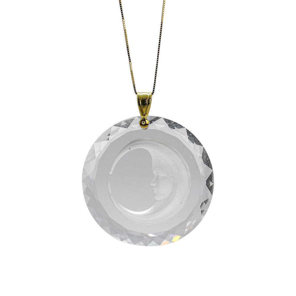 Pingente ouro 18k cristal mandala com lua
