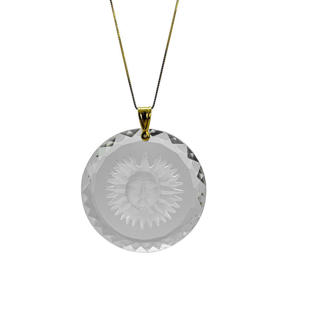 Pingente ouro 18k cristal mandala com sol