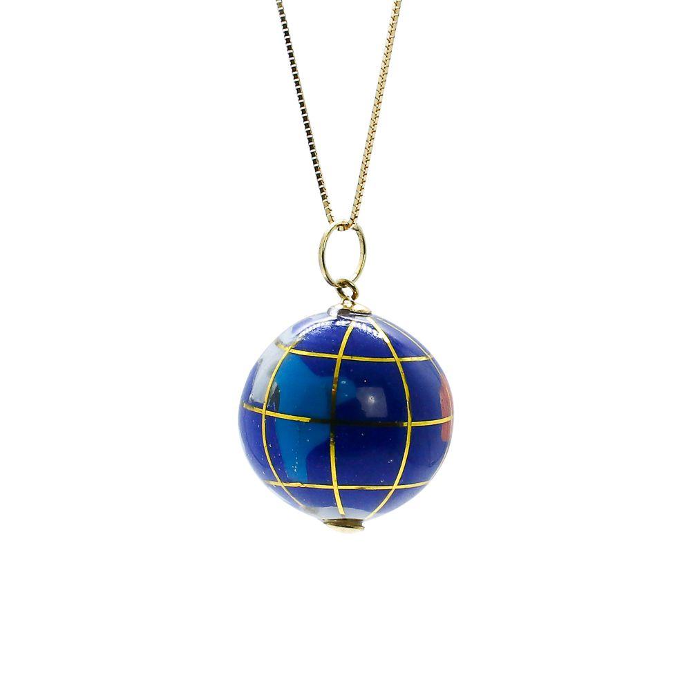 Pingente ouro 18k globo terrestre de murano