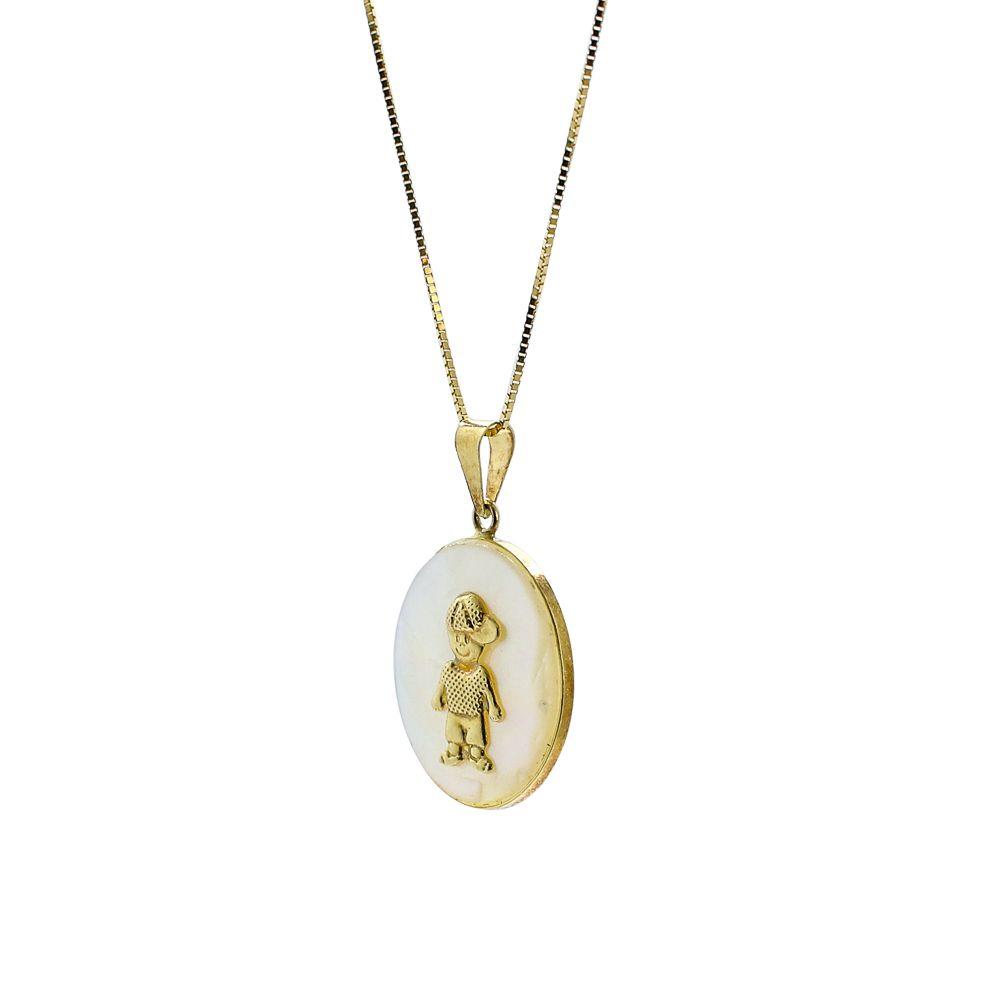 Pingente ouro 18k madre pérola com menino