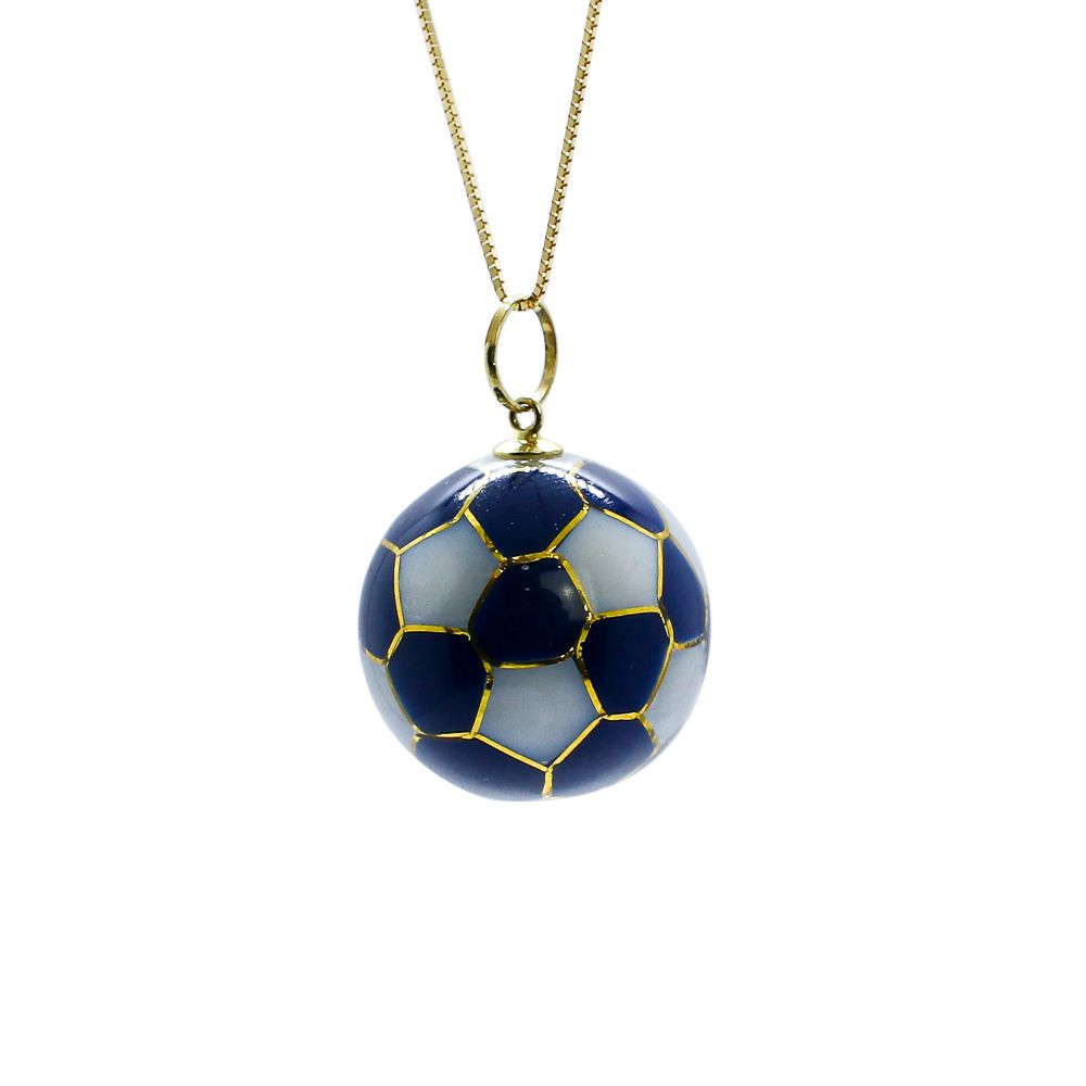 Pingente ouro 18k murano bola de futebol
