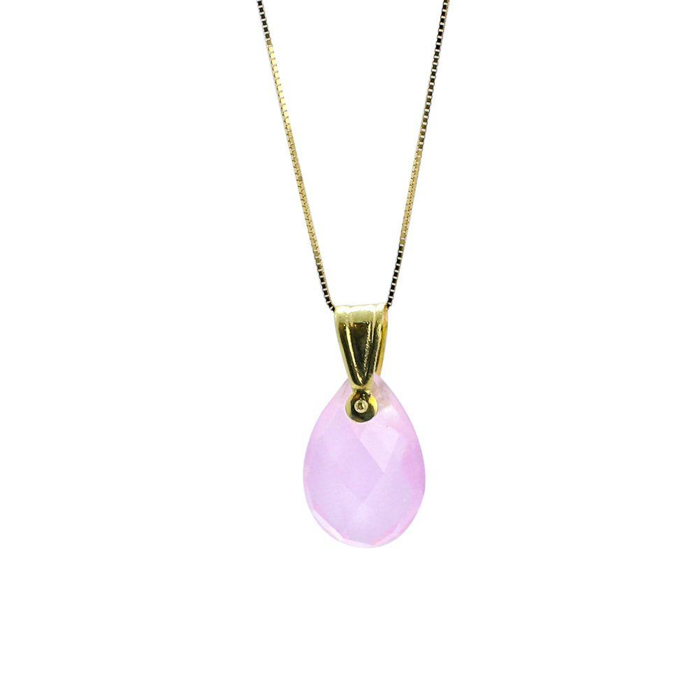 Pingente ouro 18k quartzo rosa gota briolet