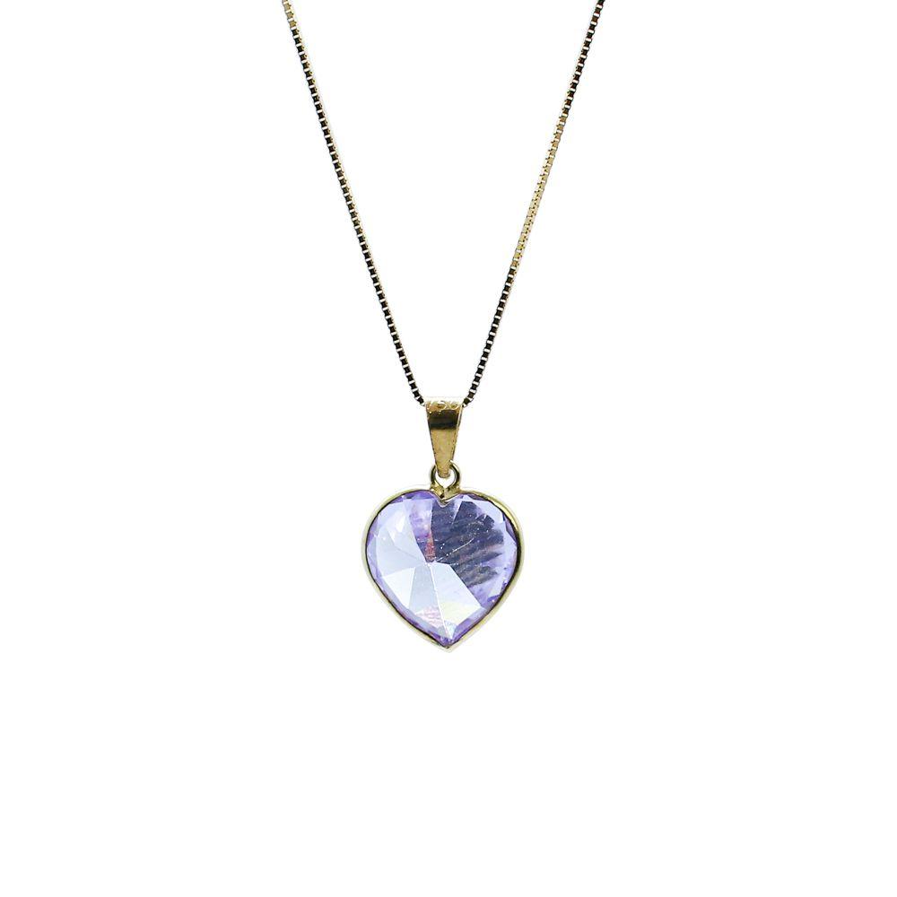 Pingente ouro 18k zircônia coração