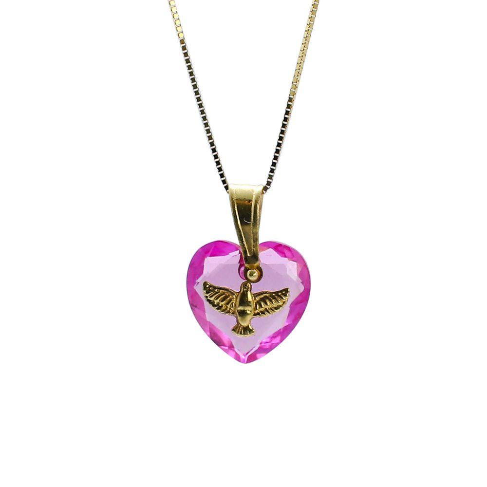 Pingente ouro 18k zircônia coração com divino espírito santo