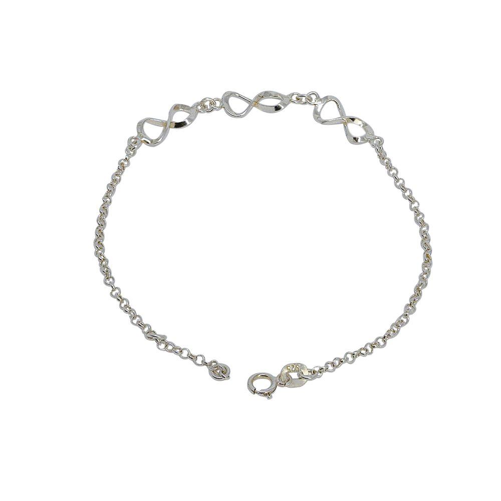 Pulseira prata 925 com infinitos vazados