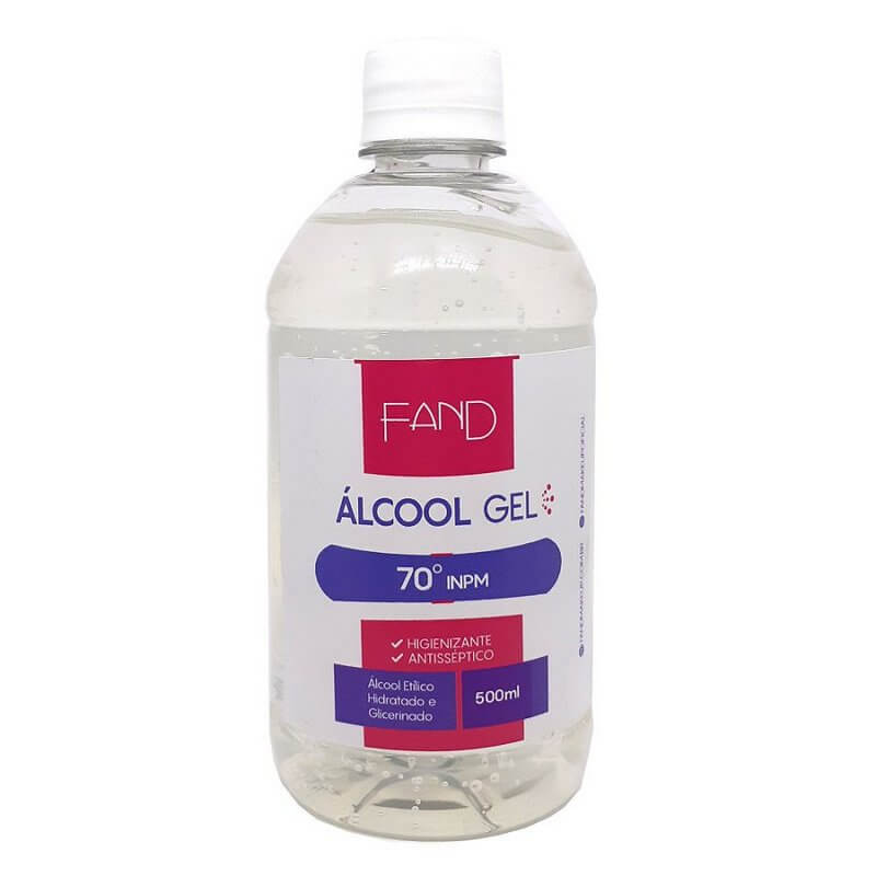 Álcool em Gel 70° graus com Glicerina para mãos Fand Makeup