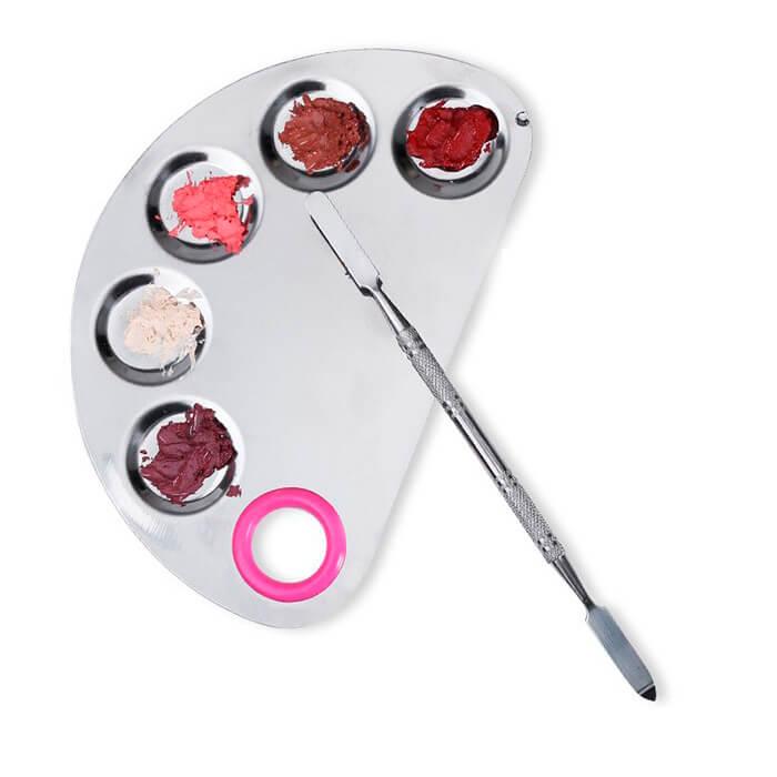 Placa de Aço Inox com Espátula para Maquiagem