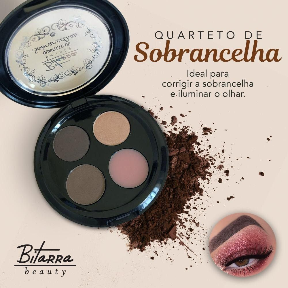 Quarteto de Sombra para Sobrancelhas Bitarra Beauty