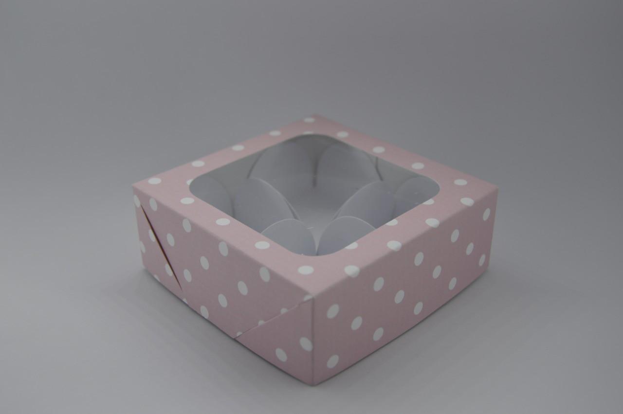 Caixa de Papel com visor Poá rosa 10 unidades